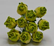 15mm MOSS GREEN HIP ROSE BUDS (L) Mulberry Paper Flowers